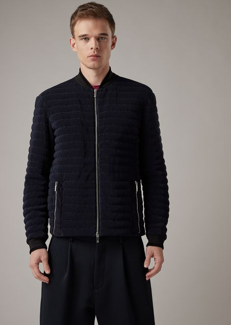 Zipped blouson in striped jersey with goose down padding