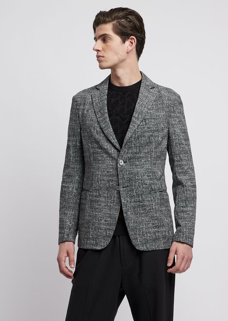 Veste à simple boutonnage en seersucker imprimé tweed 3867d19187c