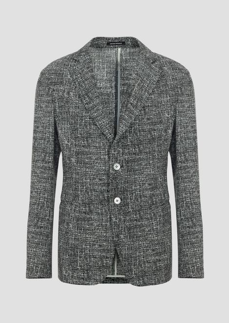 Single-breasted jacket in tweed print seersucker