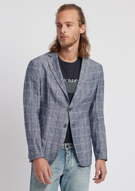 Single-breasted jacket in micro-textured printed cotton
