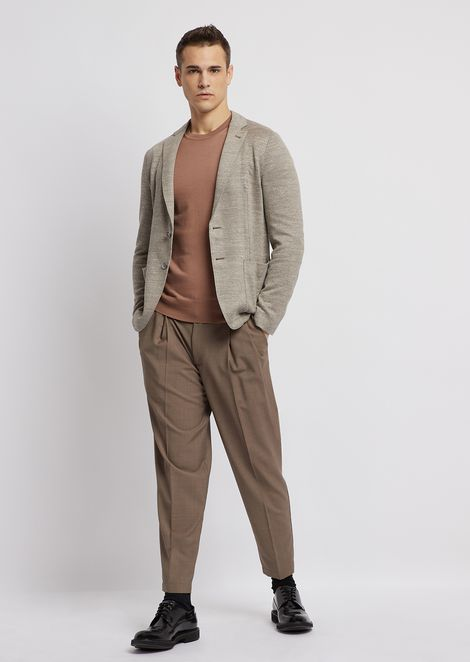 Delave linen jersey single-breasted jacket