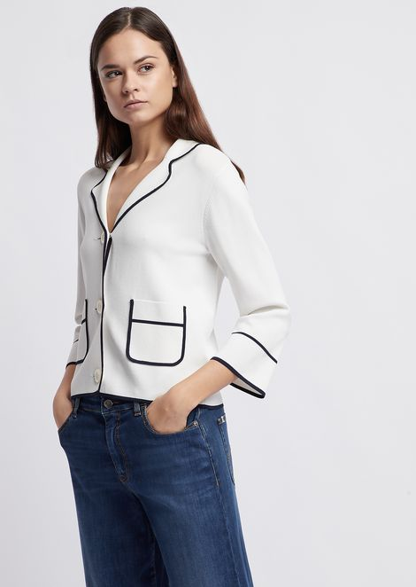 Jacket in stitched knit with contrast profiles