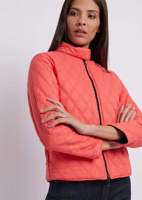 Reversible, perforated jacket in light nylon