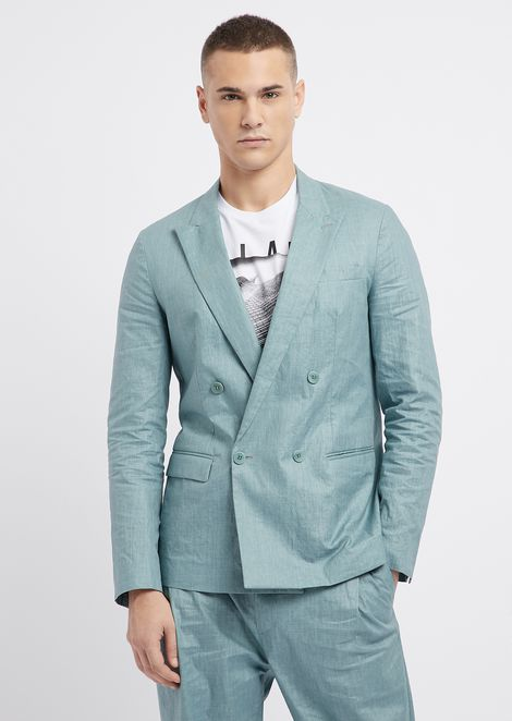 Double-breasted coated linen jacket