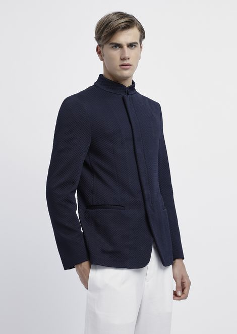 Jacket in 3D jersey jacquard with zip and mandarin collar
