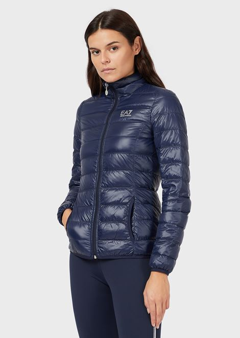 Full-zip, quilted down jacket