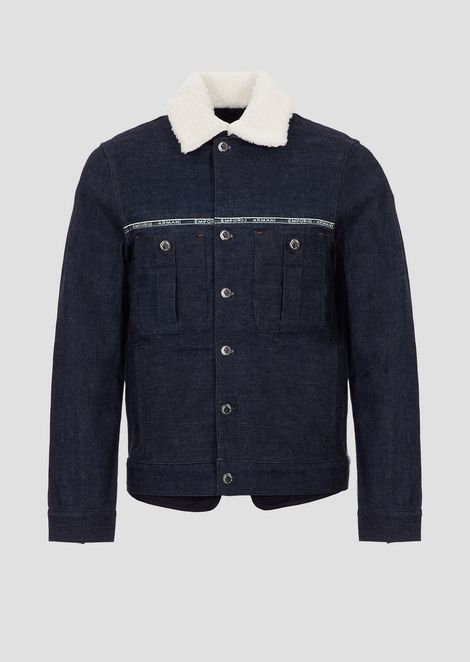 Denim jacket with liner and selvedge logo