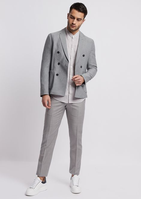 Double-breasted jacket in patterned jacquard jersey