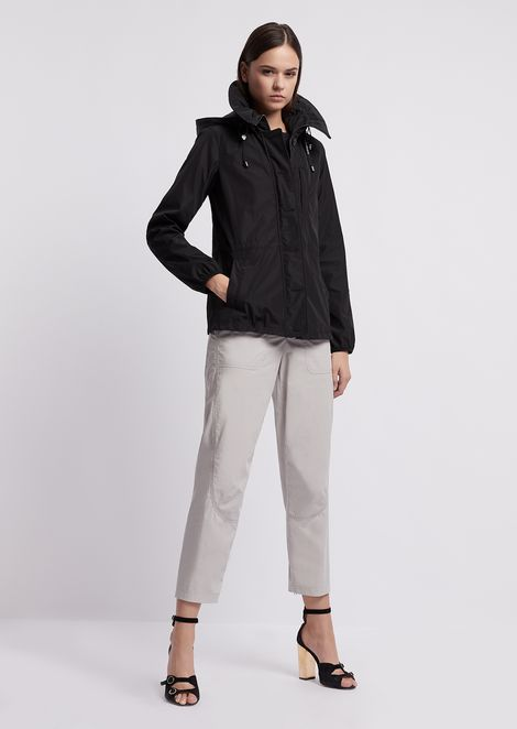Bonded-fabric nylon blouson with satin effect and hood