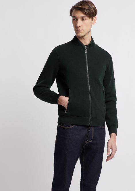 Pure cotton reversible bomber jacket in Milano stitch