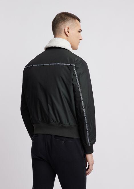 Memory effect nylon bomber jacket with logo taping