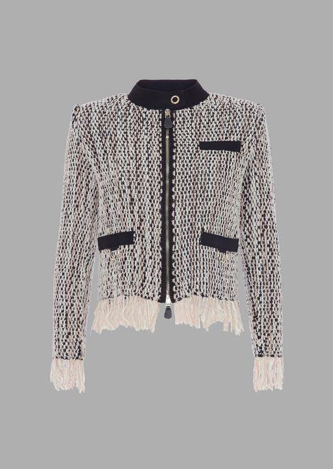 Weft jacket with fringe on hem and scuba details