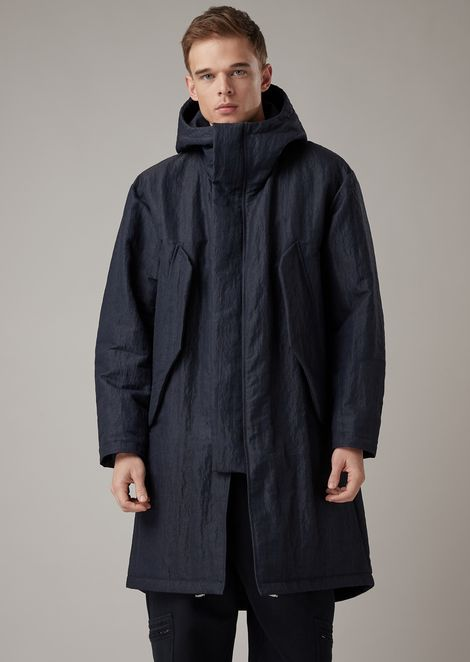 Jacket with hood in water-repellent technical plain-woven fabric