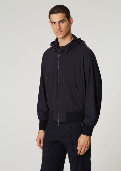 Blouson in tumbled, water-repellent fabric with logo on the back