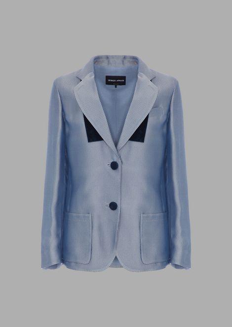 Jacket in patterned needlecord jacquard with velvet pocket square