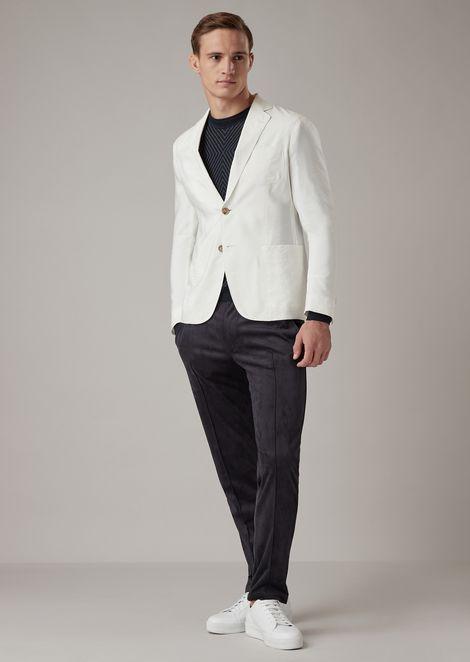 Regular-fit Upton range deconstructed jacket in plain-color silk blend twill