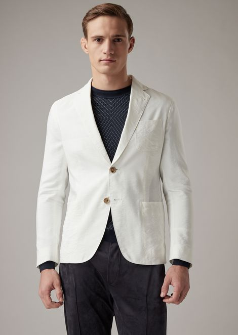 Regular-fit Upton range deconstructed jacket in plain-colour silk blend twill