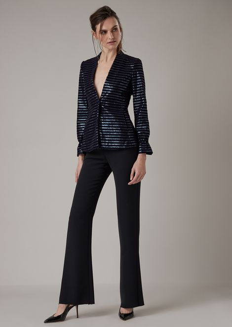 Cocktail jacket in jersey with sequins and flock print