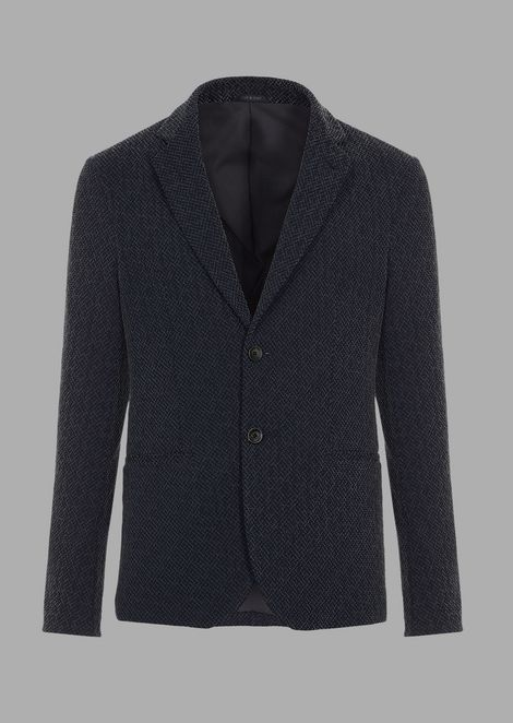 Slim-fit jacket in warp-knitted gaufre tech fabric