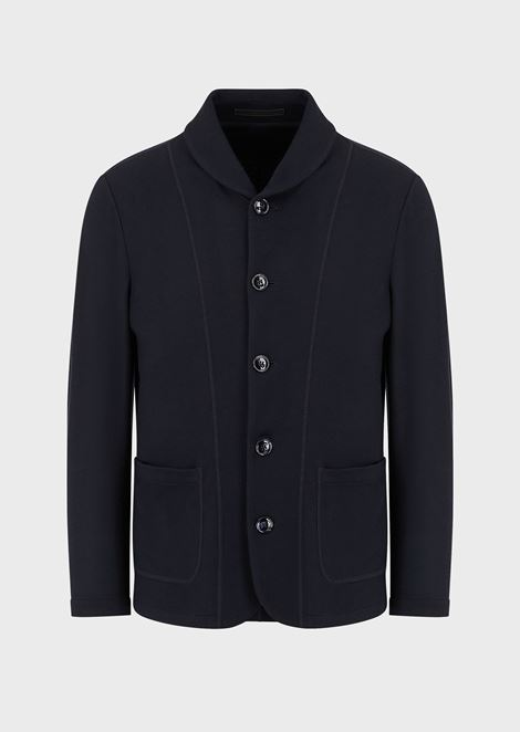 Single-breasted blazer in fulled cashmere interlock