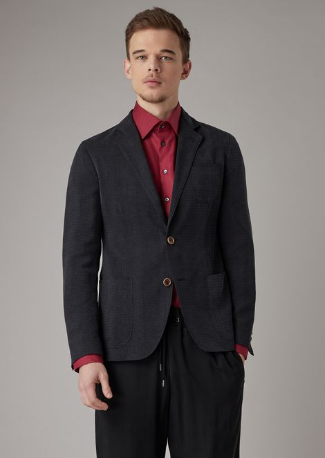 Regular-fit Upton line deconstructed jacket in enzyme-treated basketweave cupro