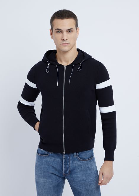 Stretch cotton blouson in Milano stitch with hood