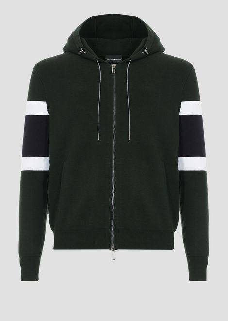 Hooded, stretch cotton blouson in Milano stitch