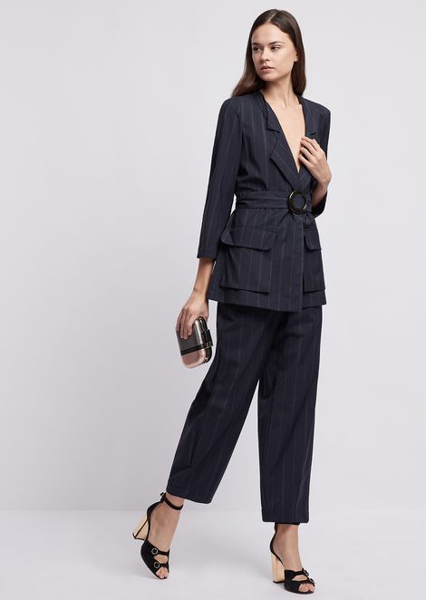 Pinstriped wool jacket with belt at the waist