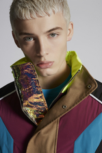 DSQUARED2 Mixed Nylon And Mini Check Bomber With Neon Collar Detail Kaban Man
