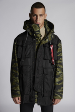DSQUARED2 Mixed Nylon And Camouflage Hooded Parka With Buckled Pockets  Kaban Man