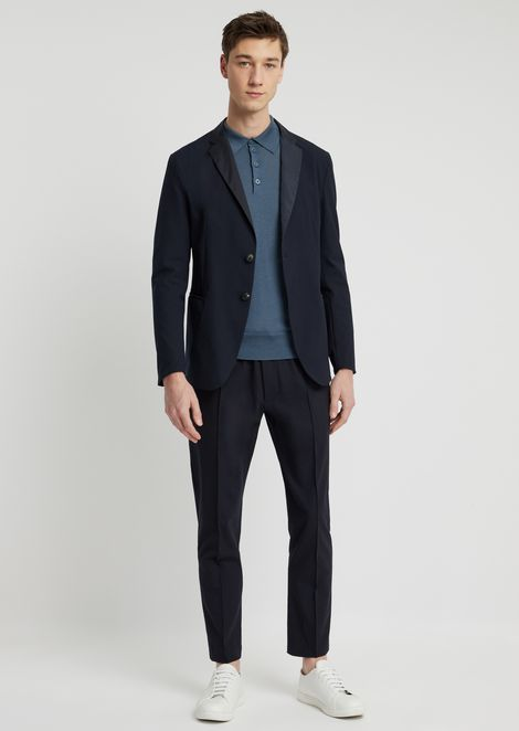 Stretch technical wool single-breasted jacket