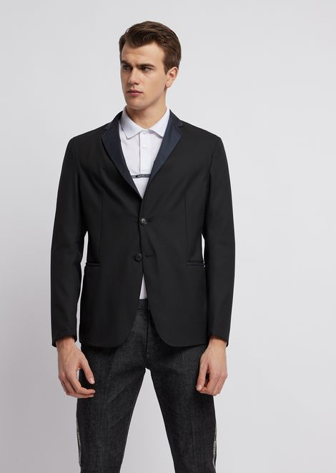 Stretch technical wool single-breasted blazer