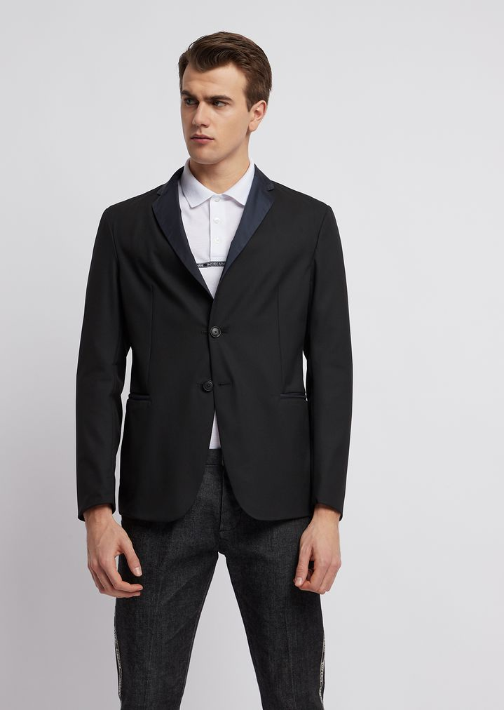 581a0fcdf5 Stretch technical wool single-breasted blazer