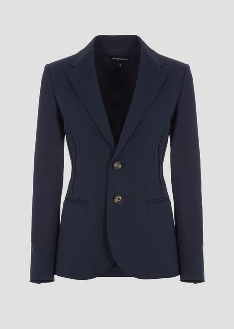 Single-breasted blazer in double stretch poplin with ribbing