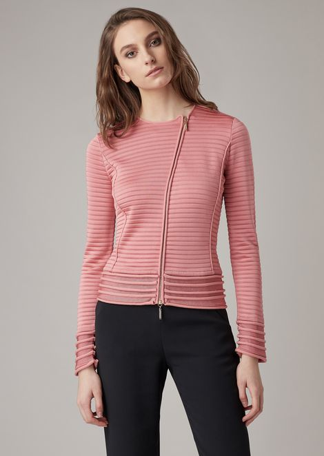 Knit jacket with raised ripple details