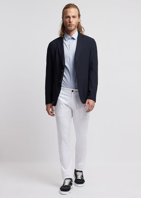 Single-breasted jacket in stretch technical wool