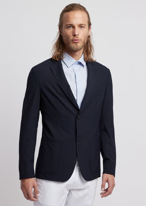 Double-breasted jacket in stretch technical wool