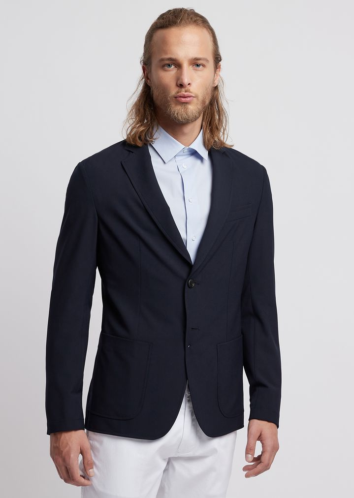 a435dbcda2 Single-breasted jacket in stretch technical wool