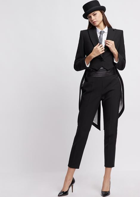 Crepe single-breasted tailcoat with peak lapels