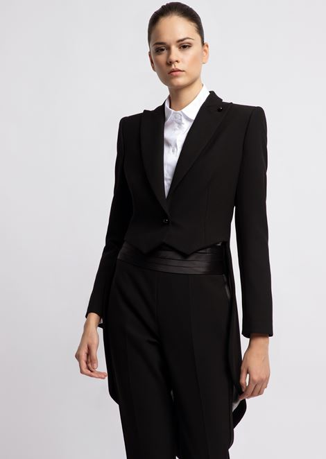 Single-breasted crepe tailcoat with peak lapels