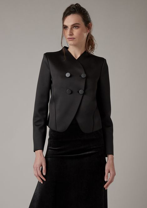 Double-breasted cocktail jacket in satin jersey