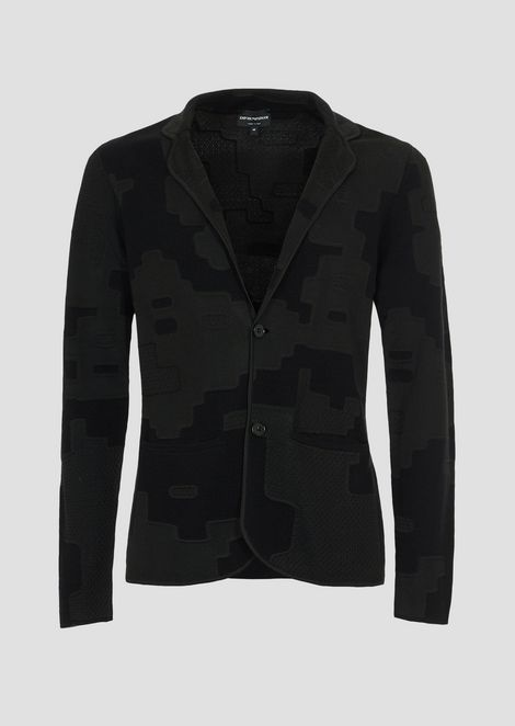 Single-breasted blazer in patterned jacquard knit