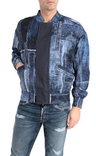 Denimflage bomber jacket