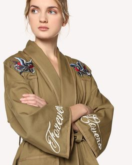 REDValentino Tattoo-embroidered cotton gabardine kimono