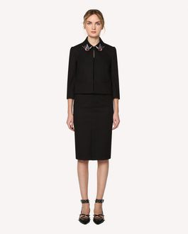 REDValentino Micro canvas stretch jacket with swallow bird patches