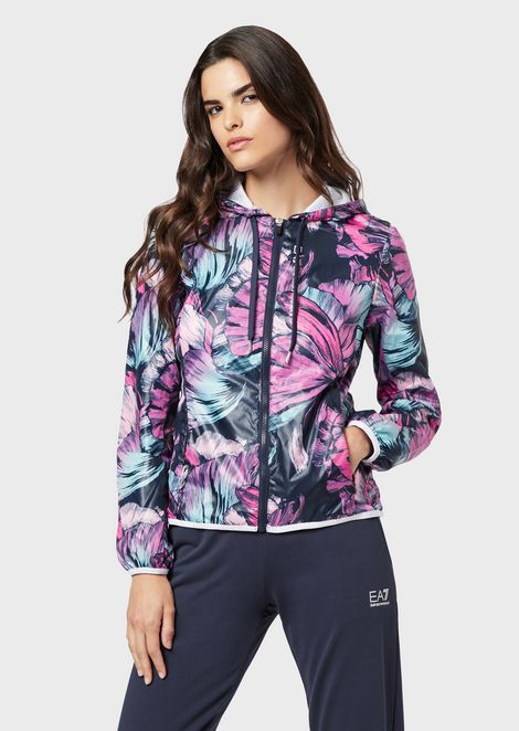Windproof blouson with all-over floral print