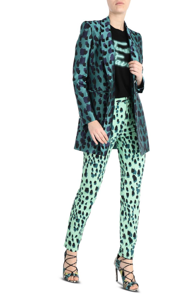 JUST CAVALLI Longline jacquard-leopard jacket Blazer Woman d