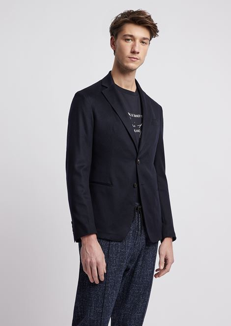 Ultralight pure cashmere single-breasted blazer with slits at the back