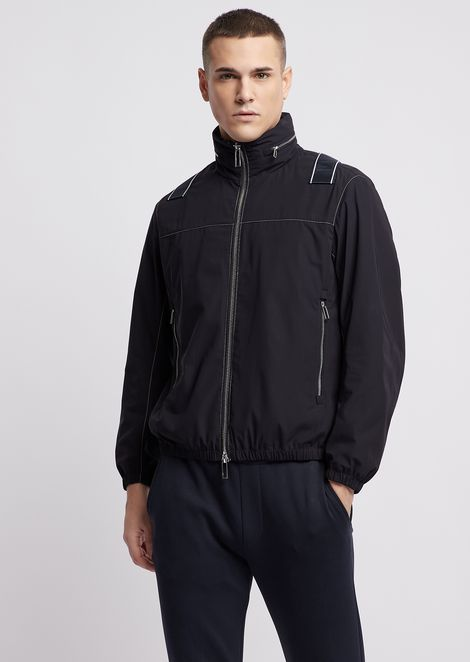 Compact nylon blouson with taping logo on the back