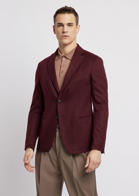 Ultralight pure cashmere single-breasted jacket with slits on the back